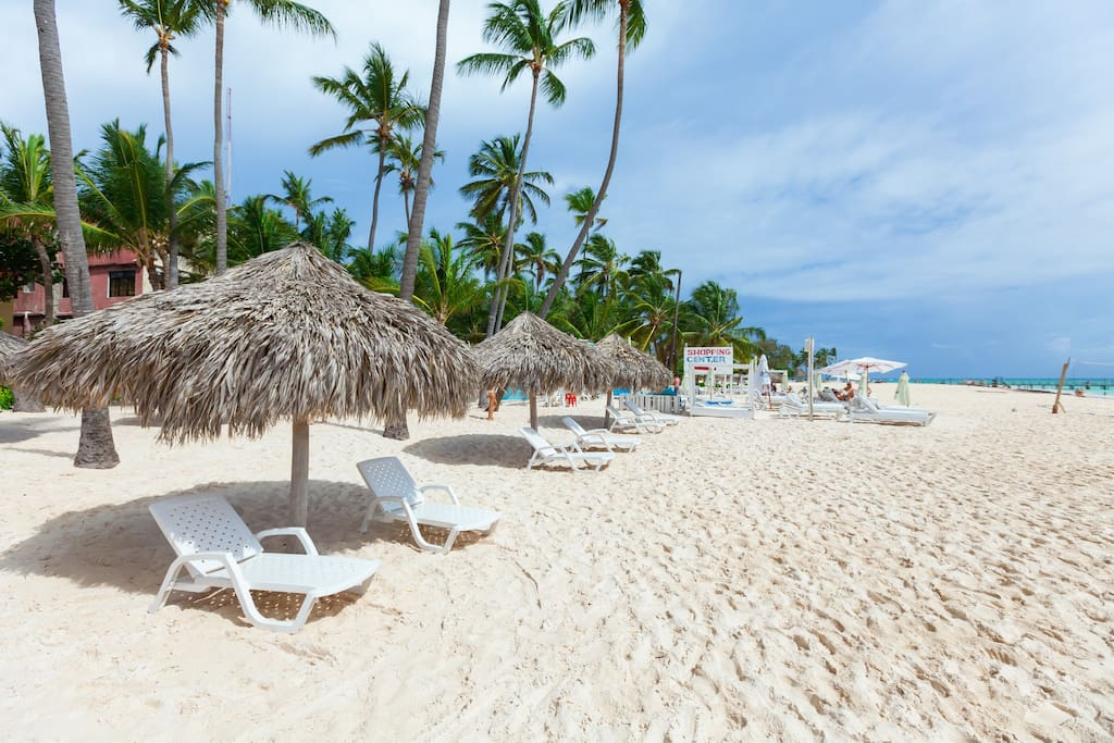 Private Beach and your personal Loungers and Parasols