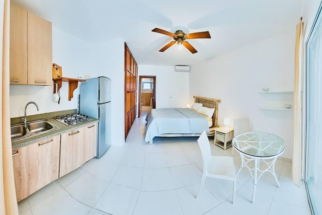 Studio is condocionado with bed kings, air, kitchen, refrigerator, table, bathroom, closet