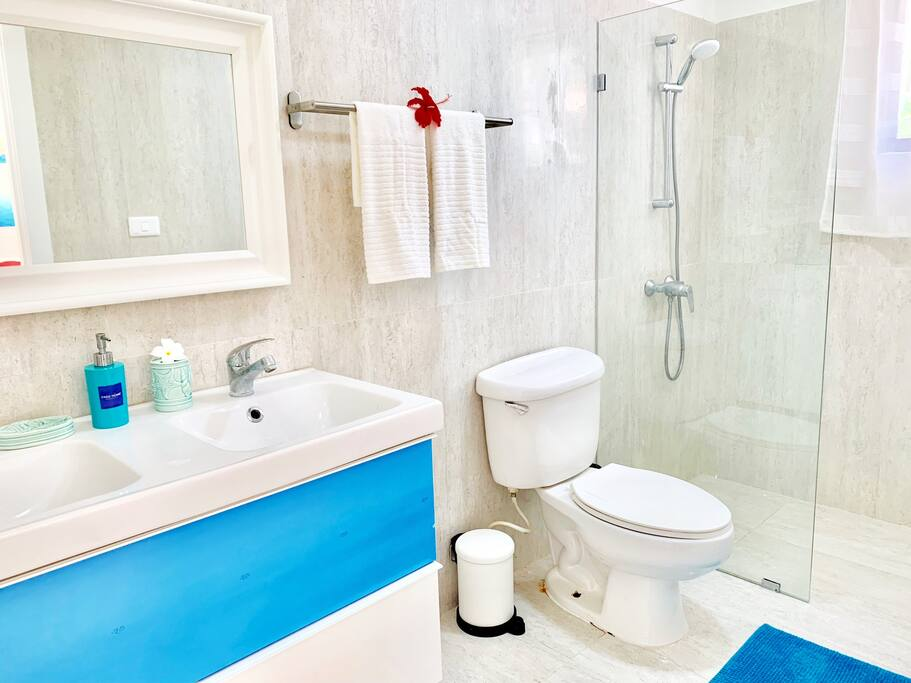 A comfortable bathroom is fully equipped so you can relax and enjoy your stay.